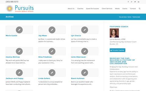 Screenshot of Testimonials Page pursuitsnetwork.com - Testimonials Archive - Pursuits - captured Nov. 13, 2016