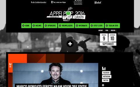 Screenshot of Home Page appelpop.nl - Appelpop 2016 - captured Feb. 16, 2016