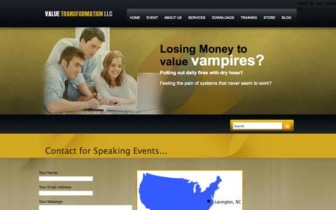 Screenshot of Contact Page valuetransform.com - Contact for Speaking Events | Value Transformation - captured Oct. 27, 2014