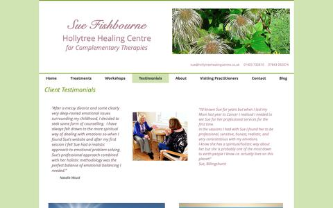 Screenshot of Testimonials Page hollytreehealing.co.uk - hollytreehealing | Testimonials - captured Dec. 5, 2018