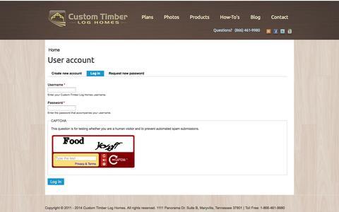 Screenshot of Login Page customtimberloghomes.com - User account | Custom Timber Log Homes - captured Oct. 10, 2014