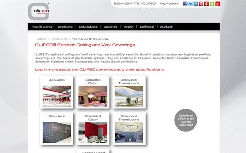 Screenshot of Products Page clipsoceilingwall.com - The Range of Coverings - captured Jan. 23, 2016