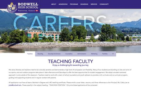 Screenshot of Jobs Page bodwell.edu - Careers at Bodwell HS | BODWELL HIGH SCHOOL - captured Sept. 22, 2018