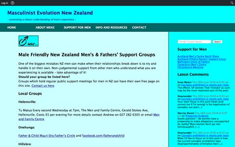 Screenshot of Support Page menz.org.nz - Support for Men – MENZ Issues - captured June 27, 2018