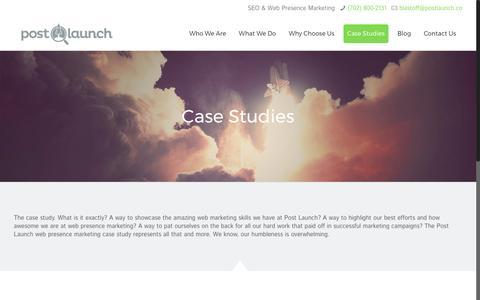 Screenshot of Case Studies Page postlaunch.co - Case Studies   Post Launch - captured May 20, 2017