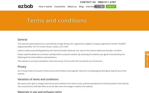 Screenshot of Terms Page ezbob.com - Terms and Conditions | ezbob - captured July 20, 2014