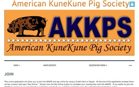 Screenshot of Signup Page americankunekunepigsociety.com - American KuneKune Pig Society - Join - captured June 28, 2018