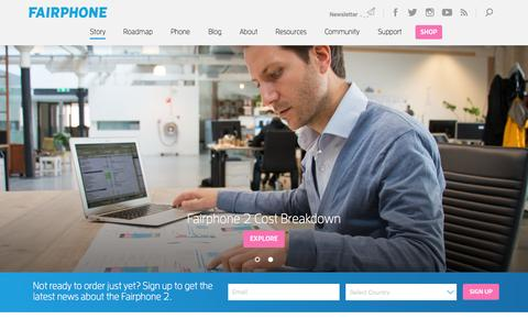 Screenshot of Home Page fairphone.com - Fairphone | Buy a phone, join a movement - captured Nov. 3, 2015