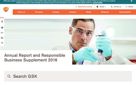 Screenshot of Home Page gsk.com - Home | GSK - captured March 19, 2017