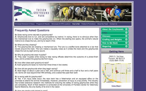 Screenshot of FAQ Page tucsongreyhound.com - FAQs | Tucson Greyhound Park - captured Oct. 26, 2017