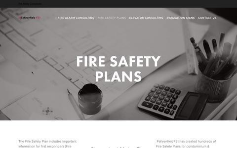 Screenshot of Menu Page f451.ca - Fire Safety Plans — Fahrenheit 451 - captured Nov. 14, 2018