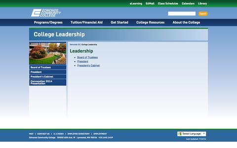 Screenshot of Team Page edcc.edu - Edmonds Community College: College Leadership - captured Sept. 19, 2014