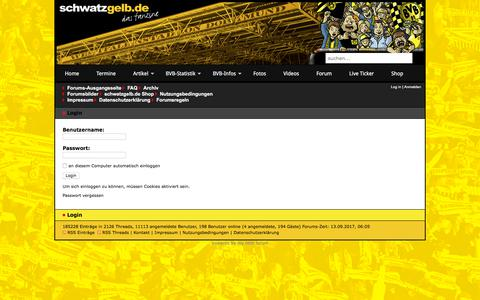 Screenshot of Login Page bvb-forum.de - schwatzgelb.de | Forum - Login - captured Sept. 13, 2017