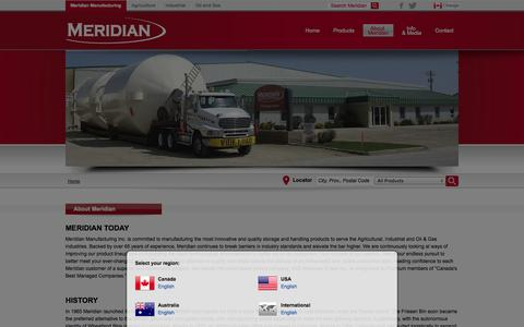 Screenshot of About Page meridianmfg.com - Hopper Cone Manufacturer - MERIDIAN® - captured Oct. 1, 2014
