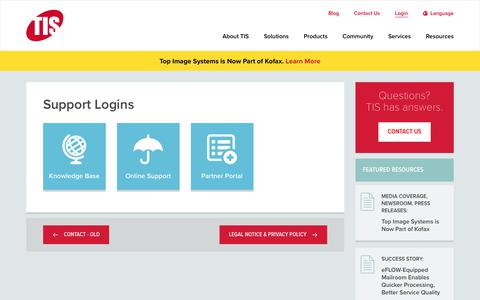 Screenshot of Login Page topimagesystems.com - Login | Support Logins | Top Image Systems - captured July 21, 2019