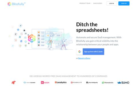 Screenshot of Home Page blissfully.com - Blissfully - Worry-free SaaS Management - captured July 8, 2018