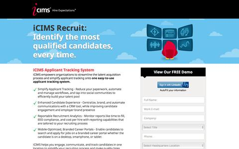 Screenshot of Landing Page icims.com - Applicant Tracking Software | Recruitment Software | iCIMS Talent Acquisition Suite - captured April 4, 2016