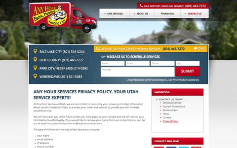 Screenshot of Privacy Page anyhourservices.com - Any Hour Services Privacy Policy. Your Utah Service Experts . Any Hour Services - captured Oct. 29, 2014