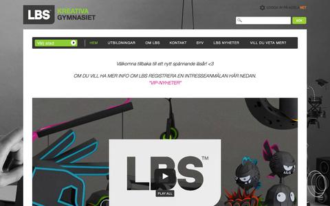 Screenshot of Home Page lbs.se - LBS Kreativa Gymnasiet   Sveriges vassaste gymnasieskola inom medier och spel. Alla program ger högskolebehörighet - captured Sept. 18, 2015