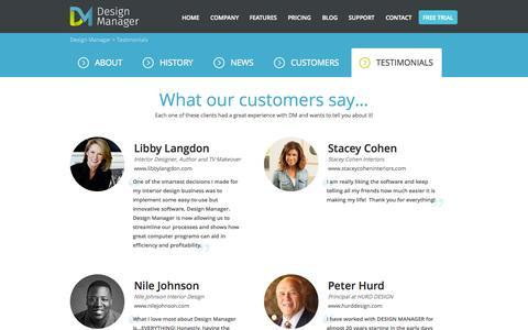 Screenshot of Testimonials Page designmanager.com - Testimonials - Design Manager - captured Oct. 5, 2014