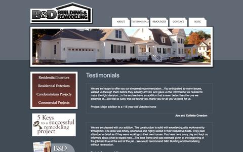 Screenshot of Testimonials Page bdbuild.com - Testimonials | Praise for B&D Building & Remodeling |  Residential Interiors & Exteriors, Condominiums, Commercial Construction | B&D Building & Remodeling - captured Oct. 2, 2014