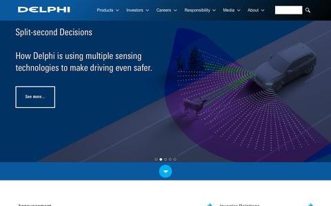 Screenshot of Home Page delphi.com - Delphi Automotive is a global supplier of vehicle technology. - captured Oct. 7, 2015