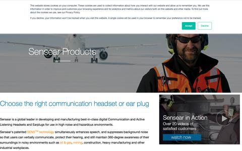 Screenshot of Products Page sensear.com - Two Way Radio Headset | Sensear - captured March 7, 2019
