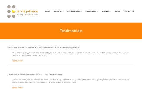 Screenshot of Testimonials Page jarvisjohnson.co.uk - Testimonials | jarvis Johnson - captured Oct. 6, 2014