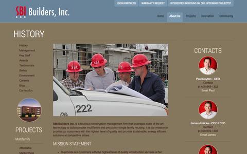 Screenshot of About Page sbibuilders.com - History « SBI Builders Inc. - captured Nov. 2, 2014