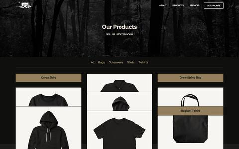 Screenshot of Products Page oakmerch.com - Our Products - OAK Merchandise - captured Feb. 13, 2016