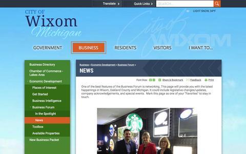 Screenshot of Press Page wixomgov.org - Wixom, MI : News - captured Jan. 28, 2016