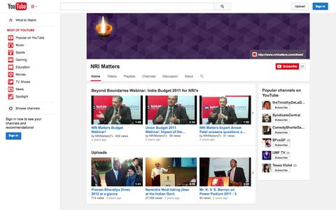 Screenshot of YouTube Page youtube.com - NRI Matters  - YouTube - captured Nov. 4, 2014