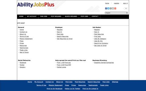 Screenshot of Site Map Page abilityjobsplus.com - Ability Jobs Plus: Site Map - captured July 28, 2018