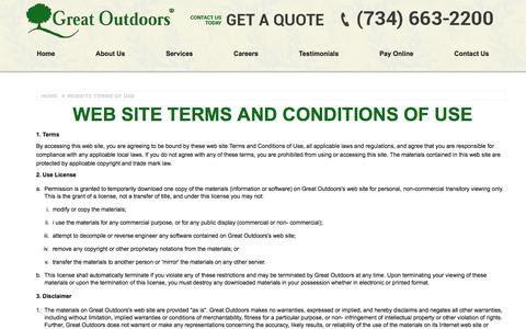 Screenshot of Terms Page gogreatoutdoors.com - Terms of Use | Lawn Care and Landscaping - captured July 3, 2018