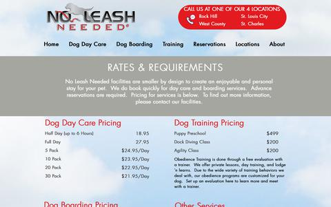 Screenshot of Pricing Page noleashneeded.com - Rates and Requirements | No Leash Needed - captured Oct. 19, 2018