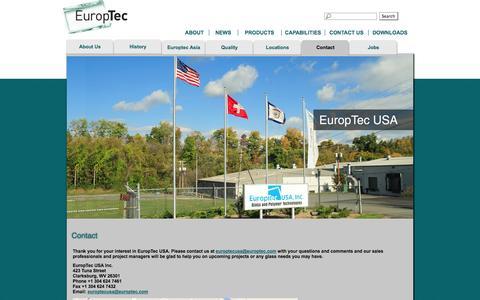 Screenshot of Contact Page europtecusa.com - Contact    Europtec USA Inc.   Contact   Glass and Polymer Technologies - captured Oct. 2, 2014