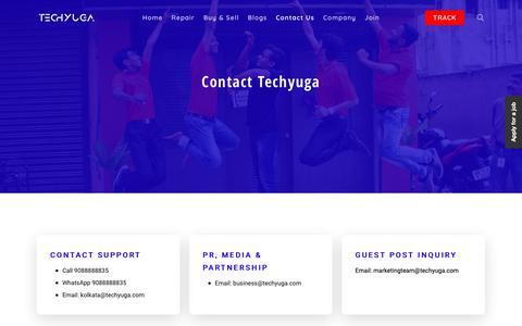 Screenshot of Contact Page techyuga.com - Techyuga Contact Details. Call 9088888835 Or Visit Us. - captured Oct. 19, 2018