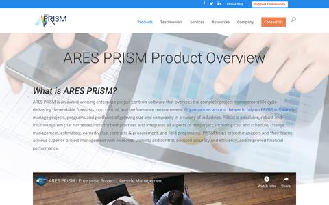 Screenshot of Products Page aresprism.com - ARES PRISM PM Software: Product Overview | ARES PRISM - captured Jan. 8, 2019