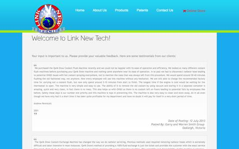 Screenshot of Testimonials Page linknewtech.com - Welcome to Link New Tech! - captured Oct. 8, 2014