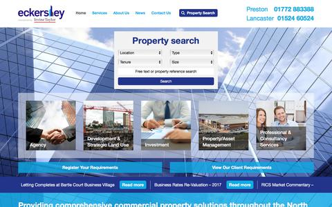 Screenshot of Home Page eckersleyproperty.co.uk - Eckersley are chartered surveyors, commercial property consultants - captured July 14, 2017