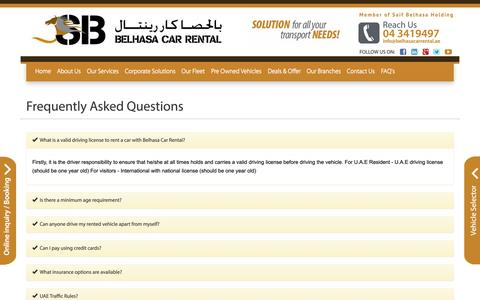 Screenshot of FAQ Page belhasacarrental.com - Frequently Asked Questions - captured Sept. 30, 2014
