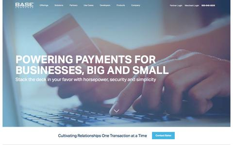 Screenshot of Home Page basecommerce.com - Your Payments Partner for Credit Card and ACH - captured April 19, 2018