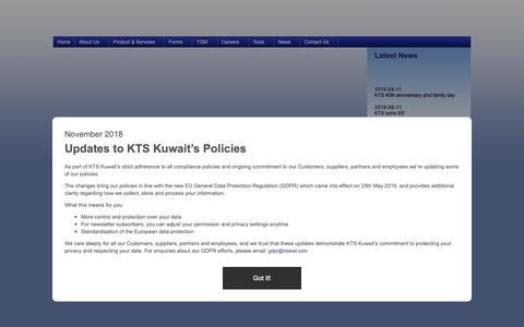 Screenshot of Home Page ktskwt.com - Kuwait Transcontinental Shipping Co. W.L.L.- KTS Kuwait provides a comprehensive range of shipping and logistic services around the world round the clock. - captured Dec. 20, 2018