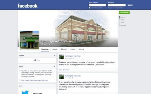 Screenshot of Facebook Page facebook.com - Huntington Franchise | Facebook - captured Oct. 22, 2014