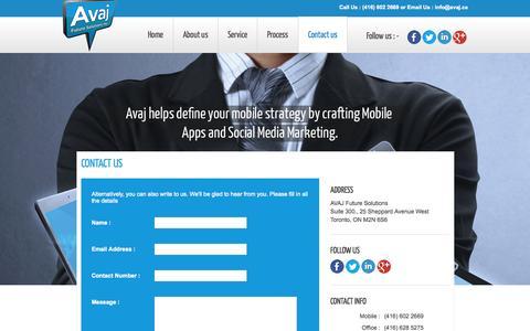 Screenshot of Contact Page avaj.ca - Toronto Mobile App Development   Toronto Mobile Website Design   Mobile Apps Toronto - captured Oct. 4, 2014