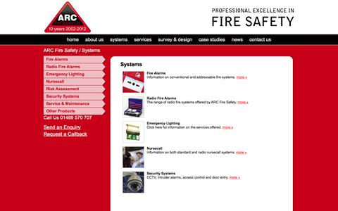 Screenshot of Products Page arcfiresafety.co.uk - ARC Fire Safety Systems - captured Feb. 5, 2016