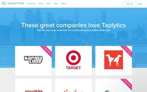 Screenshot of Case Studies Page taplytics.com - Taplytics Customers   These great companies love Taplytics - captured Feb. 4, 2017