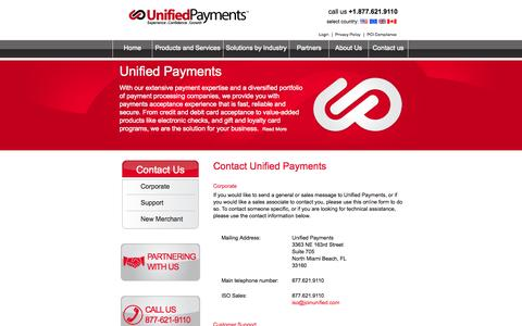 Screenshot of Contact Page Support Page unifiedpayments.com - Unified Payments | Experience.Confidence.Growth - captured Oct. 7, 2014