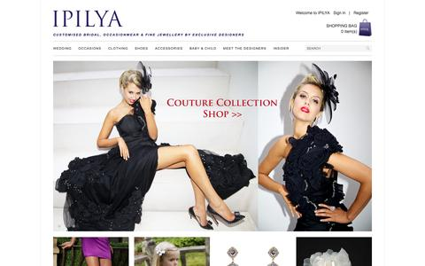 Screenshot of Home Page ipilya.com - Shop IPILYA for Evening Dresses, Cocktail Dresses, Wedding Dresses, Wedding Rings, Prom Dresses, Shoes, Bags, & Children's Clothes - captured Oct. 4, 2014