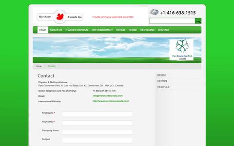Screenshot of Contact Page merchantscanada.com - Merchants Canada - Canadian vendor of quality computer hardware, Networking equipment, Server parts, and Apple products - captured Oct. 18, 2017